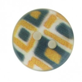 Polyester button, mosaic - green and yellow