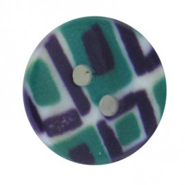 Polyester button, mosaic - purple/green