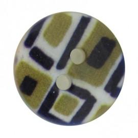 Polyester button, mosaic - khaki