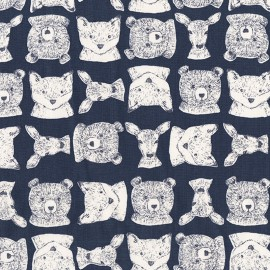 Tissu Dear Stella Woodland Critters - bleu x 12cm