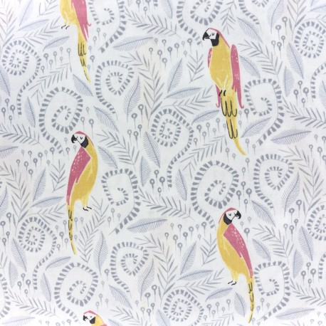 Fabric Dear Stella Birds in Paradise - white x 21cm