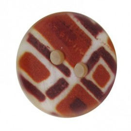 Polyester button, mosaic - brick-red