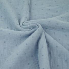 Tissu double gaze de coton Voie lactée - bleu x 10cm