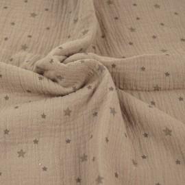 Tissu double gaze de coton Voie lactée - taupe x 10cm