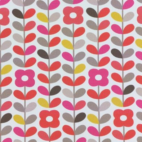 Simili cuir World of flowers poppy - fucshia x 10cm