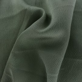 Plain embossed satin fabric - military green x 10cm