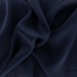 Plain embossed satin fabric - black blue x 10cm