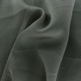 Plain embossed satin fabric - khaki x 10cm