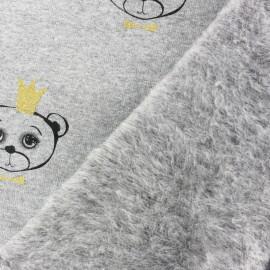 Tissu sweat envers minkee Sweet Bear - gris clair x 10cm