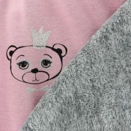 Sweat with minkee reverse side Sweet Bear - pink x 10cm