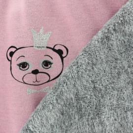 Tissu sweat envers minkee Sweet Bear - rose x 10cm