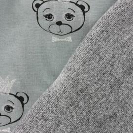Tissu sweat envers minkee Sweet Bear - vert x 10cm