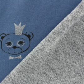 Tissu sweat envers minkee Sweet Bear - bleu x 10cm