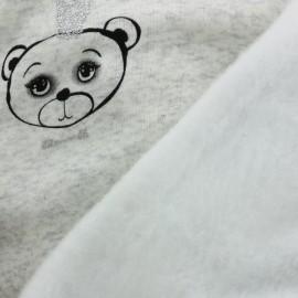 Tissu sweat envers minkee Sweet Bear - blanc x 10cm