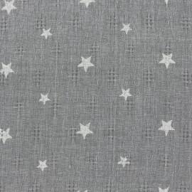 Tissu simple gaze ajouré étoiles - gris x 10cm