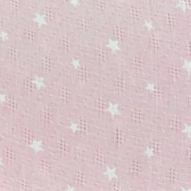 Tissu simple gaze ajouré étoiles - rose x 10cm