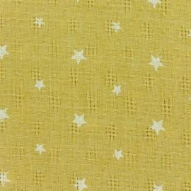 Tissu simple gaze ajouré étoiles - jaune x 10cm