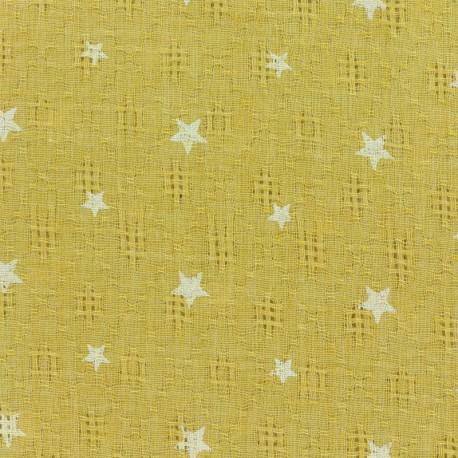 Simple gauze star fabric - yellow x 10cm