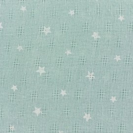 Simple gauze star fabric - green x 10cm