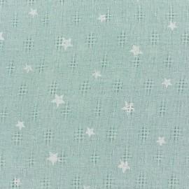 Tissu simple gaze ajouré étoiles - vert x 10cm