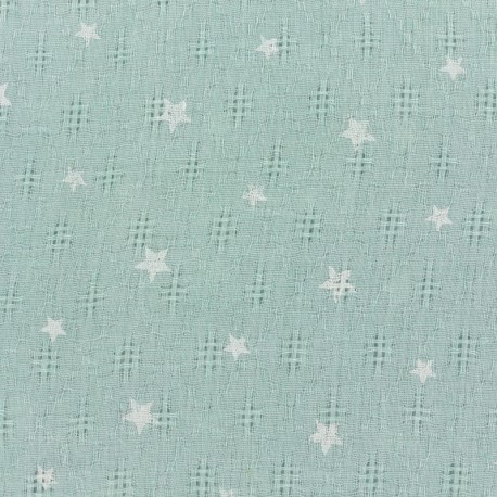 Simple gauze star fabric - green x 10cm