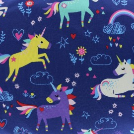 Tissu Oeko-Tex Jersey Licornes et Arc-en-ciel - bleu x 10cm