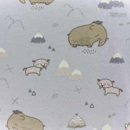Tissu Oeko-Tex Jersey bio Cute Préhistoire - gris x 10cm