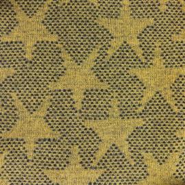 ♥ Coupon 170 cm X 150 cm ♥ Tissu lainage léger Etoiles - moutarde