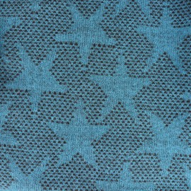 Light Stars Wool Fabric - blue x 10cm