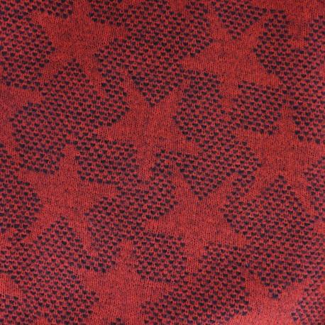 Tissu lainage léger Etoiles - rouge x 10cm