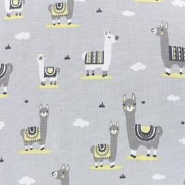 Tissu popeline Lama - gris/jaune x 10cm