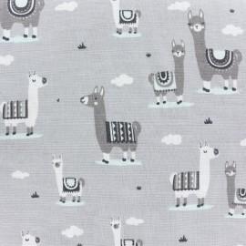 Tissu popeline Lama - gris/jade x 10cm