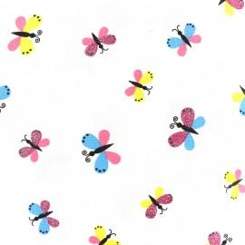 Tissu jersey Sparkling Butterflies - blanc x 10cm