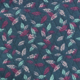 Tissu matelassé La beauté de l'automne - bleu canard x 10cm