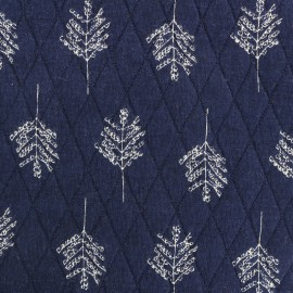 Reversible quilted fabric Autumn leaves - navy blue x 10cm