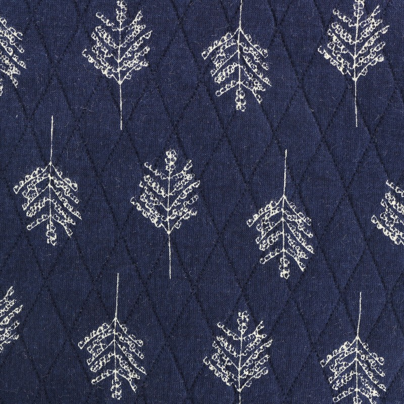 Reversible Quilted Fabric Autumn Leaves Navy Blue