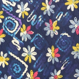 Reversible quilted fabric The return of spring - navy blue x 10cm