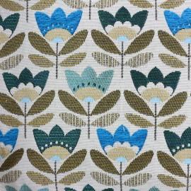 Tissu toile jacquard Pernille - bleu x 10cm