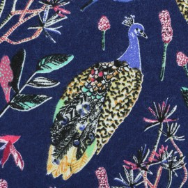 Cotton fabric Peacock -  Navy Blue  x 21cm