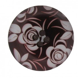 Woman button, engraved flowers - carmine red