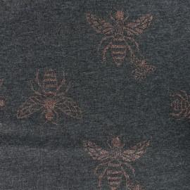 Tissu Oeko-Tex Sweat Léger Bees - gris anthracite x 10cm