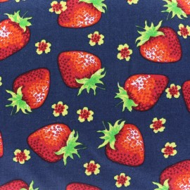 Tissu coton Lovely Strawberry Fruit - bleu nuit x 10cm