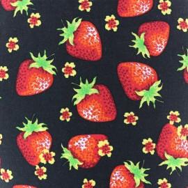 Tissu coton Lovely Strawberry Fruit - noir x 10cm