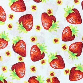 Tissu coton Lovely Strawberry Fruit - blanc x 10cm