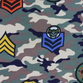 Tissu sweat léger Militaire - vert x 38cm