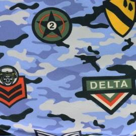 Tissu sweat léger Militaire - bleu x 38cm