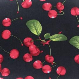 Tissu coton Lovely Cherry Fruit - noir x 10cm