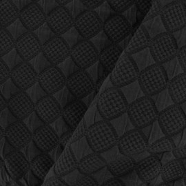 Jersey jacquard fabric diamond - black x 10cm