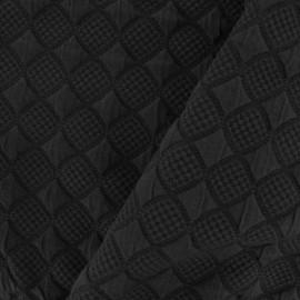 Tissu jersey jacquard damassé losanges - noir x 10cm