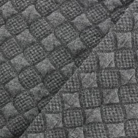 Tissu jersey jacquard damassé losanges - gris x 10cm